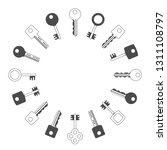 keys silhouettes set. retro ... | Shutterstock .eps vector #1311108797