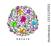 vector floral card. exotic... | Shutterstock .eps vector #1311119201