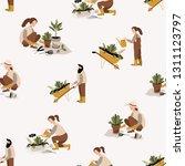 gardening seamless pattern.... | Shutterstock .eps vector #1311123797