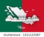 mexico with urban skyscrapers ... | Shutterstock .eps vector #1311125387