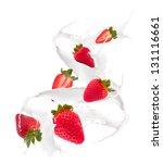 Strawberries In Milk Splash ...