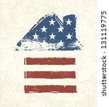 house shaped american flag.... | Shutterstock .eps vector #131119775