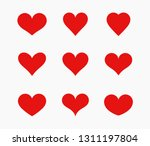 red hearts icons set. vector... | Shutterstock .eps vector #1311197804
