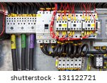 Electrical panel with fuses and contactors. - stock photo