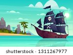 Vector Cartoon Pirate Ship On...