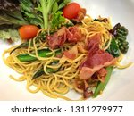 delicious spaghetti served on a ... | Shutterstock . vector #1311279977