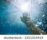 first person view. drowning man ... | Shutterstock . vector #1311314414