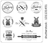 Stock vector set of vintage bakery labels badges and design elements 131131451