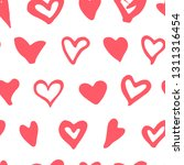 doodle heart seamless pattern.... | Shutterstock .eps vector #1311316454