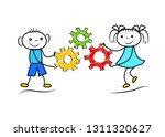 funny stickman boy and girl... | Shutterstock .eps vector #1311320627