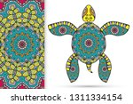 decorative doodle turtle with... | Shutterstock .eps vector #1311334154