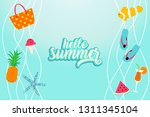 hello summer banner with beach... | Shutterstock .eps vector #1311345104