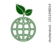 globe with green leaves icon.... | Shutterstock .eps vector #1311348014