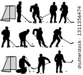 set silhouette of hockey player ... | Shutterstock . vector #1311356474