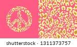 animal pink wallpaper and... | Shutterstock . vector #1311373757