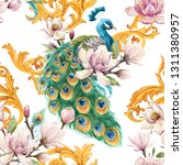Watercolor Pattern With Peacoc...