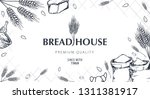 bakery background with wheats.... | Shutterstock .eps vector #1311381917