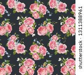watercolor floral pattern with... | Shutterstock . vector #1311388961