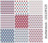 set of nine seamless red  white ... | Shutterstock .eps vector #131139125