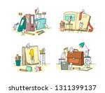 office objects set with working ... | Shutterstock .eps vector #1311399137