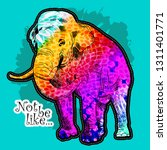 vector elephant with a floral... | Shutterstock .eps vector #1311401771