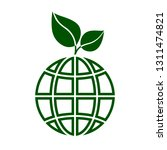 globe with green leaves icon....   Shutterstock .eps vector #1311474821