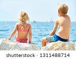 children girl and boy  siblings ... | Shutterstock . vector #1311488714