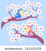 birds on blossom tree branches | Shutterstock .eps vector #131151155
