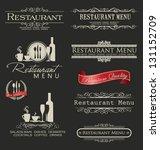 retro vintage style restaurant... | Shutterstock .eps vector #131152709