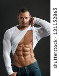 male fitness model show ripped... | Shutterstock . vector #131152865