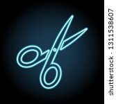 scissors neon icon. simple thin ...