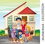 family member in front of house ... | Shutterstock .eps vector #1311553124