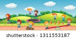 children playing in playground... | Shutterstock .eps vector #1311553187
