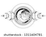 triple moon pagan wicca moon... | Shutterstock .eps vector #1311604781