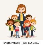 pretty teacher standing with... | Shutterstock .eps vector #1311659867
