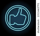 thumb up like neon icon. simple ...