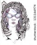 girl with glasses | Shutterstock . vector #131166974