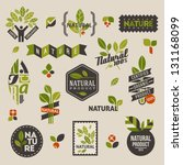 Nature-themed labels and badges with green leaves �¢?? set of vector design elements | Shutterstock vector #131168099