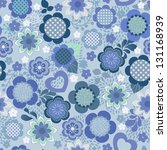 Blue Floral Seamless Background