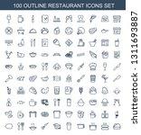 100 restaurant icons. trendy...   Shutterstock .eps vector #1311693887