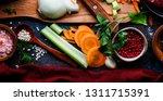 fresh organic vegetables ... | Shutterstock . vector #1311715391
