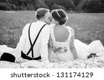 happy couple on wedding day.... | Shutterstock . vector #131174129