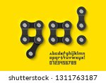 bike chain font  alphabet... | Shutterstock .eps vector #1311763187