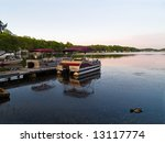 An early dawn view of Lake Hopatcong in North West New Jersey. - stock photo