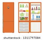orange fridge with open doors ... | Shutterstock .eps vector #1311797084