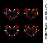 beautiful heart fireworks set.... | Shutterstock . vector #1311812897