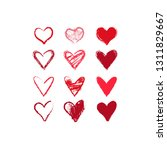 12 hand drawn hearts with... | Shutterstock .eps vector #1311829667
