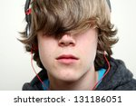 teenager listening to music ... | Shutterstock . vector #131186051