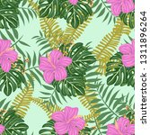tropical pattern with hibiscus... | Shutterstock .eps vector #1311896264