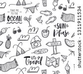 hand drawn doodle travel pattern   Shutterstock .eps vector #1311911534